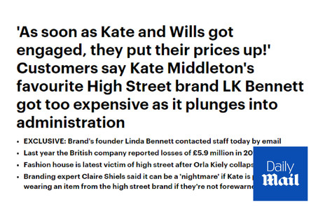 LK Bennett Goes Into Administration - Daily Mail Commentary