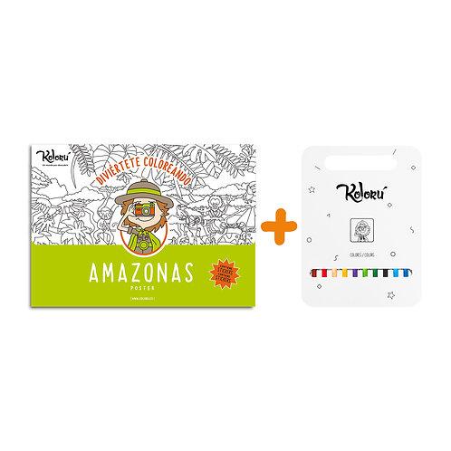GRAN PROMO Poster Amazonas con stickers + colores