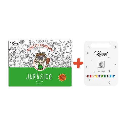 GRAN PROMO Poster Jurásico con stickers + colores