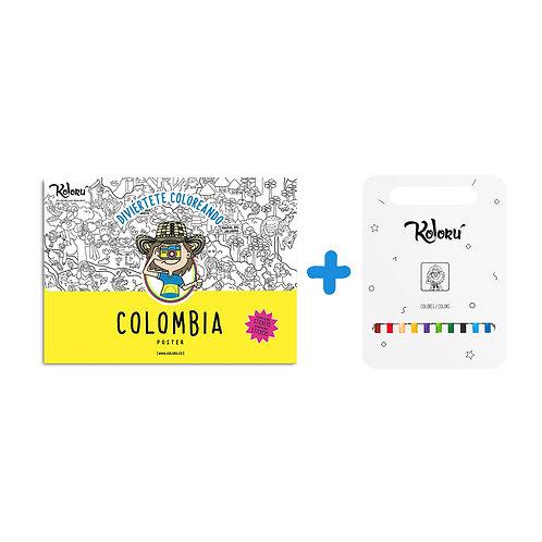 GRAN PROMO Poster Colombia con stickers + colores