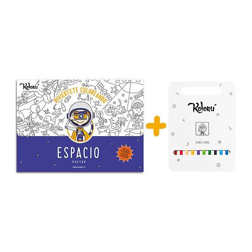 GRAN PROMO Poster Espacio con stickers + colores