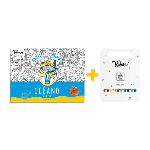 GRAN PROMO Poster Océano con stickers + colores
