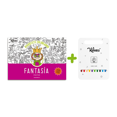 GRAN PROMO Poster Fantasía con stickers + colores