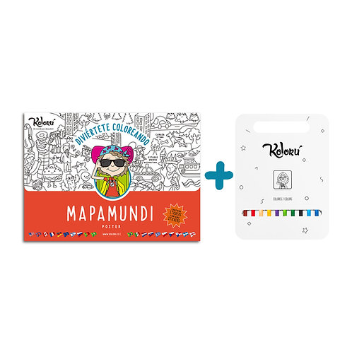 GRAN PROMO Poster Mapamundi con stickers + colores