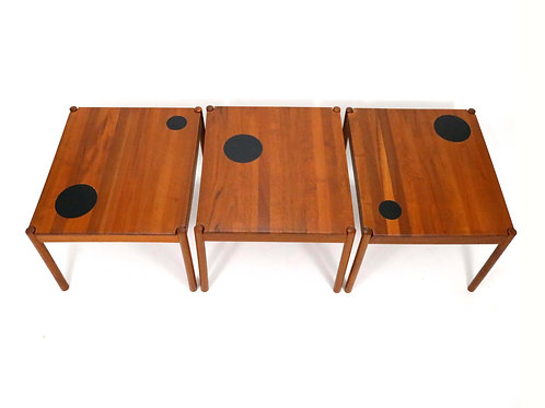 Danish Teak Tables with Reversible Tops by Magnus Olesen A/S