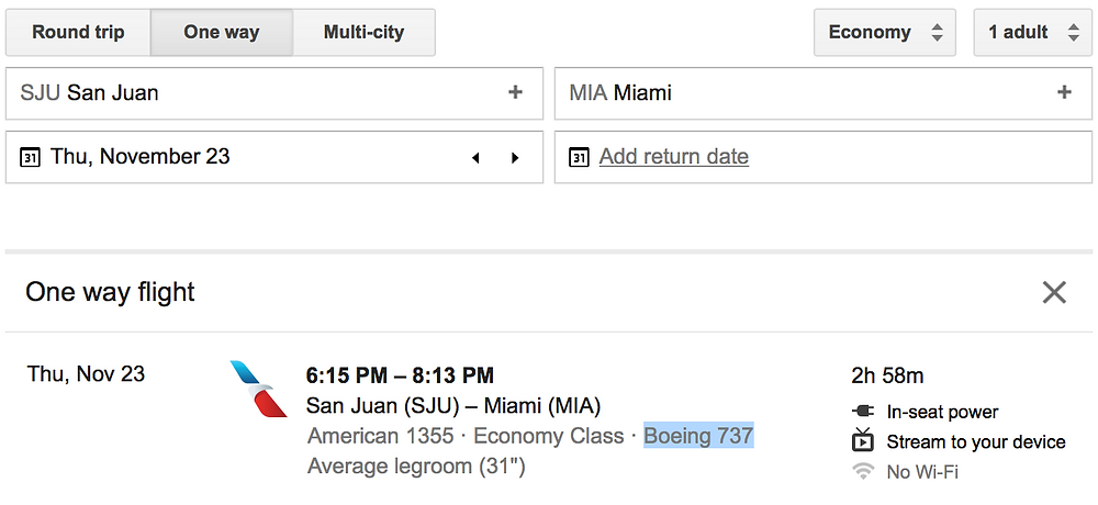 Google Flights example, with the type of plane highlighted.