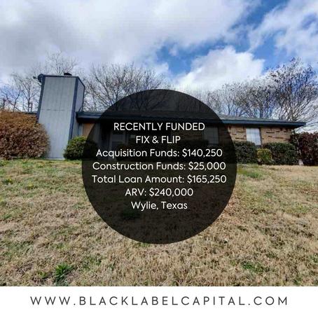 Recently Funded-Wylie, TX Fix & Flip Loan