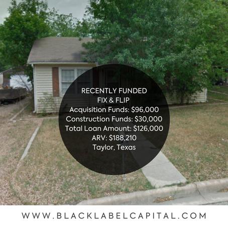 Recently Funded-Hillsboro, TX Fix & Flip Loan