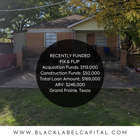 Recently Funded-Grand Prairie, TX Fix & Flip Loan