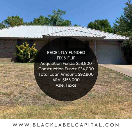 Recently Funded-Azle, TX Fix & Flip Loan