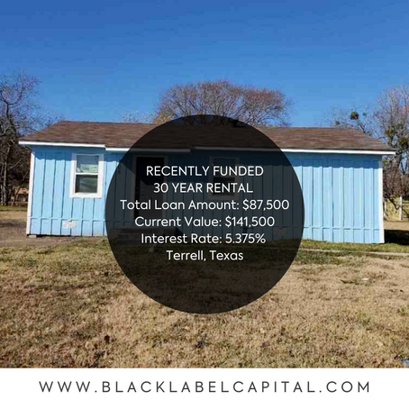 Recently Funded-Terrell, TX 30 Year Rental Loan