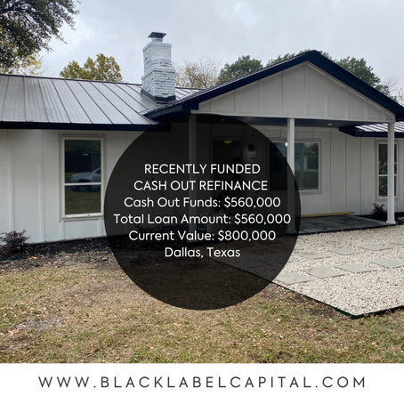 Recently Funded-Dallas, TX Cash Out Refinance Loan