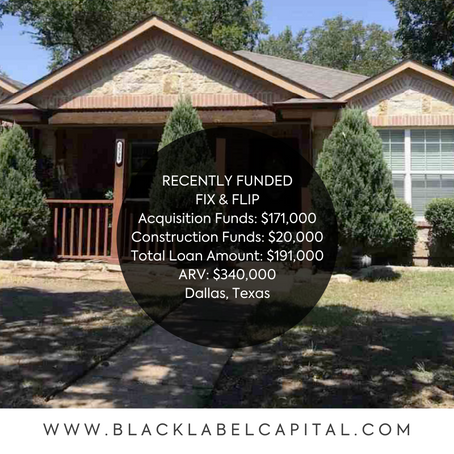 Recently Funded-Dallas, TX Fix & Flip Loan