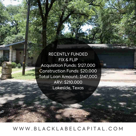 Recently Funded-Lakeside, TX Fix & Flip Loan