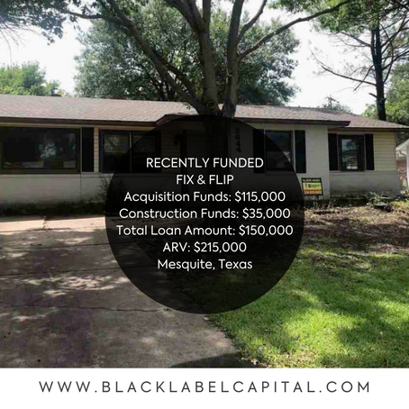 Recently Funded-Mesquite, TX Fix & Flip Loan