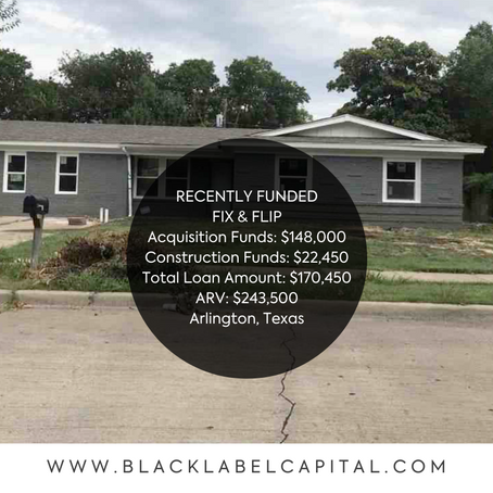 Recently Funded-Arlington, TX Fix & Flip Loan