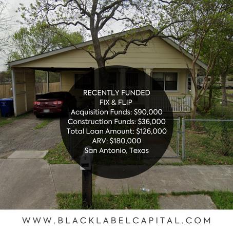 Recently Funded-San Antonio, TX Fix & Flip Loan