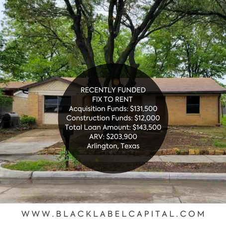 Recently Funded-Arlington, TX Fix To Rent Loan