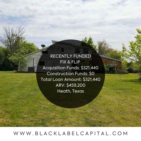 Recently Funded-Heath, TX Fix & Flip Loan