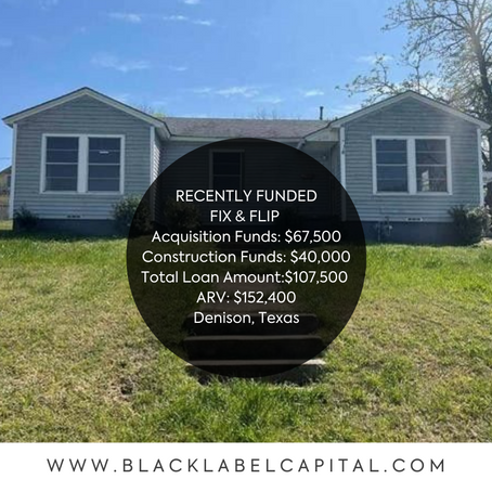 Recently Funded-Denison, TX Fix & Flip Loan