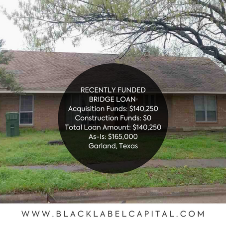 Recently Funded-Garland, TX Fix & Flip Loan