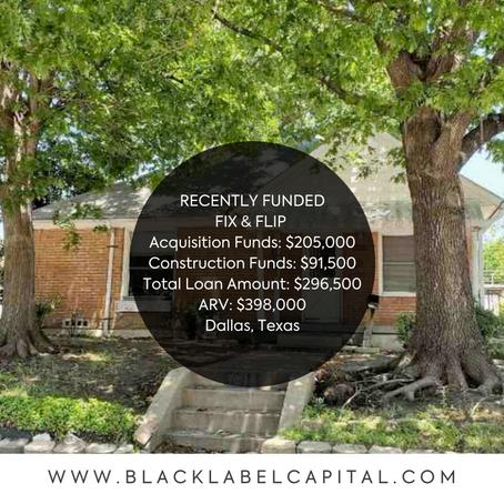Recently Funded-Dallas, TX Fix & Flip Loan