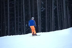 Вид сзади лыжника