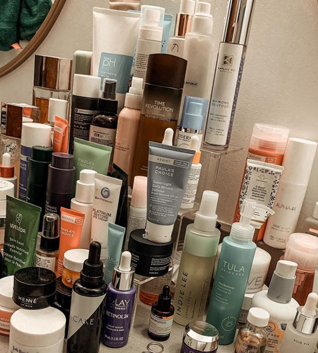 array of beauty products