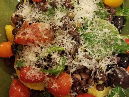 Vegan Polenta with Beans, Spinach & Puttanesca Sauce