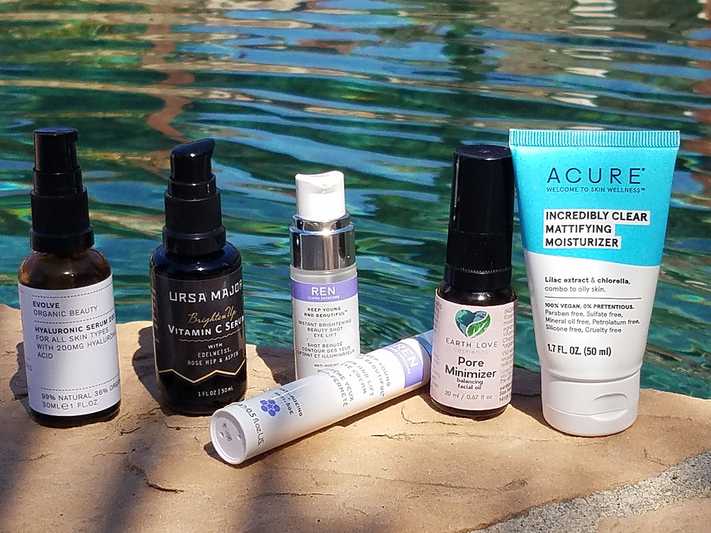 Skincare products be edge of pool during day