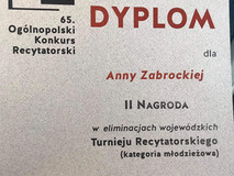 II miejsce w Ogólnopolskim Konkursie Recytatorskim w Gdyni