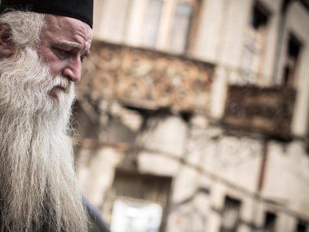 street photography Georgian orthodox priest in Tbilisi