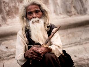 street photography wise old man in Kathmandu Nepal