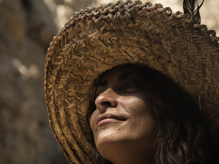 portrait of girl in straw hat