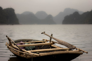 Travel Photography bamboo row boat in Vietnam