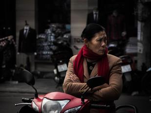 street photography vietnamese woman on motorbike