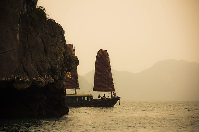 Travel Photography junk ship in Halong Bay