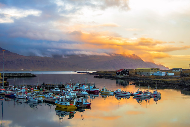 landscape photography sunset over Djupivogur harbor in Iceland