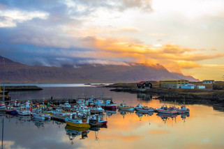 landscape photography sunset over Djupivogur harbor in Iceland