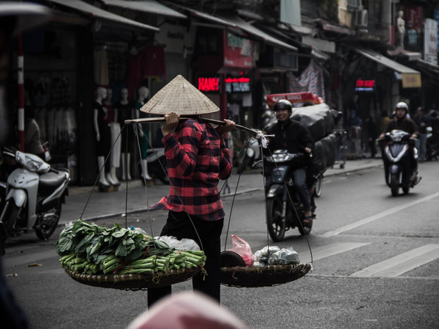 Street Photography Vietnamese woman carrying goods in Hanoi