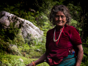 travel photography Nepali woman in forest