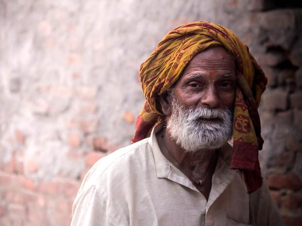 street photography portrait of religious Nepali man in Kathmandu