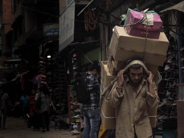 Street Photography Hard Labor from Nepali man in Kathmandu