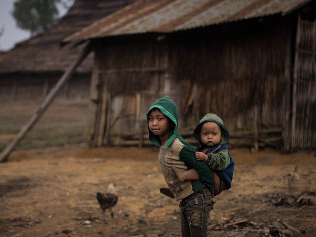 Travel Photography of brothers in Laos Akha Village