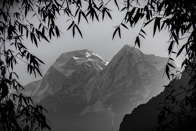 Black and White photography Himalayan Mountains