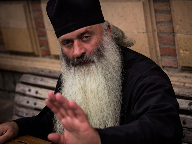 street photography of Georgian orthodox priest in tbilisi