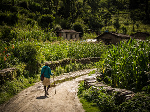 Travel Photography Old Man in Nepal Village