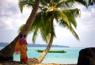 Travel Photography of Mother and Child on beach in Andaman Islands