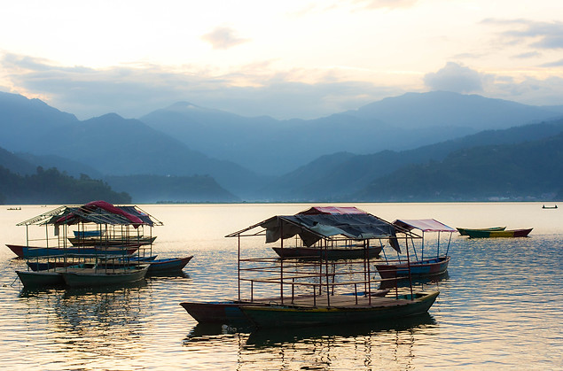 Landscape Photography boats in Lake Pokhara, Nepal