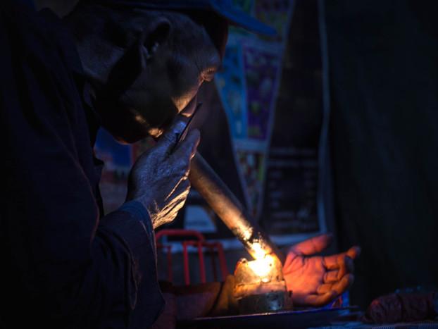 Travel Photography Akha Village Man Smoking Opium